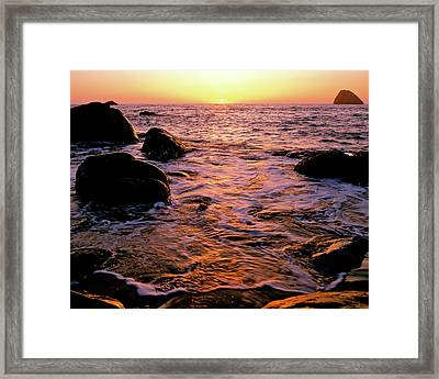 Hidden Cove Sunset Redwood National Park Framed Print