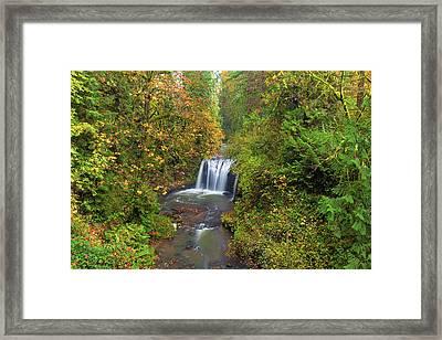 Hidden Falls In Autumn Framed Print