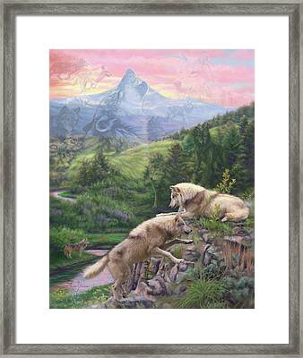 Hidden Wolves Framed Print by Lucie Bilodeau