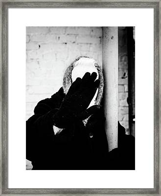Framed Print featuring the photograph Hidden Woman In Black Fur by John Williams