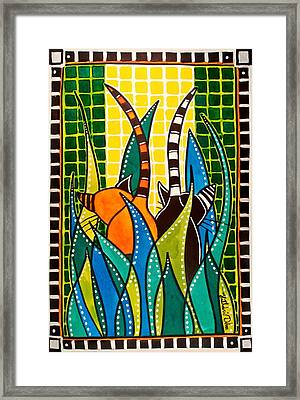Framed Print featuring the painting Hide And Seek - Cat Art By Dora Hathazi Mendes by Dora Hathazi Mendes