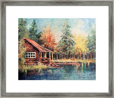 Framed Print featuring the painting Hide Out Cabin by Linda Shackelford