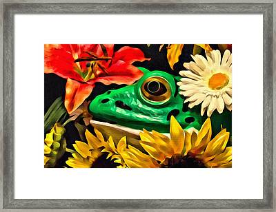 Hiding Frog Framed Print by Jeff  Gettis