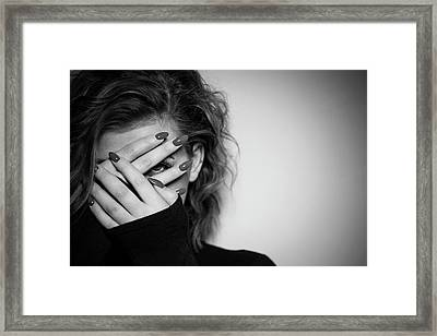 Hiding Framed Print by Samuel Whitton