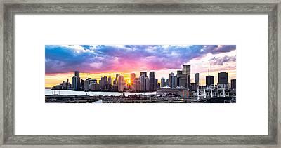Hiding The Light Panoramic Miami Framed Print