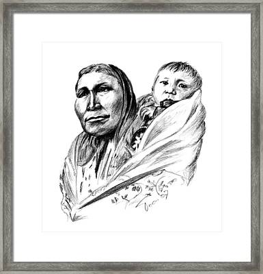 Hiditcha Woman With Child Framed Print