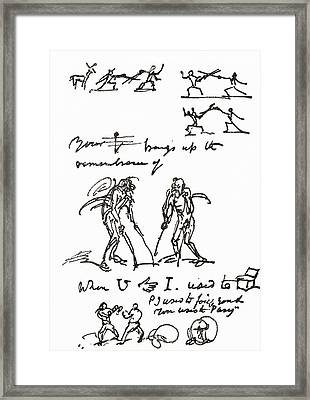 Hieroglyphic Letter Written By George Framed Print by Vintage Design Pics