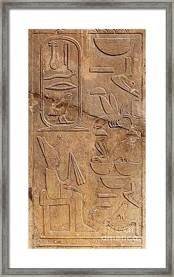 Hieroglyphs On Ancient Carving Framed Print
