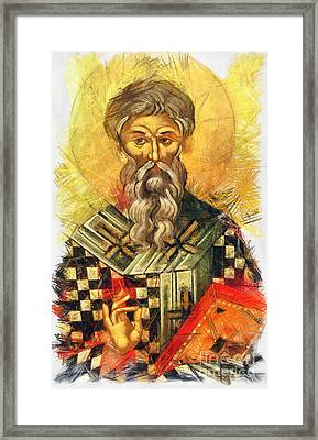 Hieromartyr Cyprian The Bishop Of Carthage Framed Print by Daliana Pacuraru