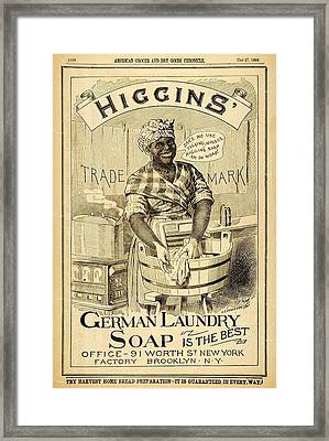 Higgins German Laundry Soap Framed Print