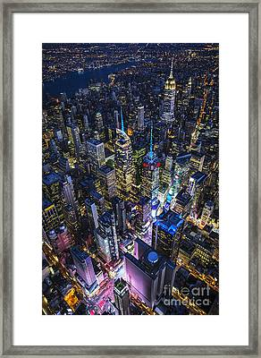 Framed Print featuring the photograph High Above The City by Roman Kurywczak
