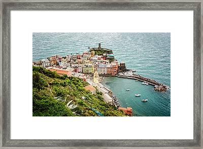High Above Vernazza Cinque Terre Italy Framed Print