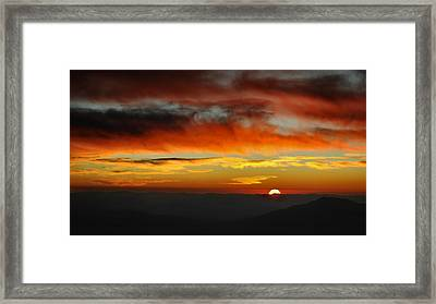 Framed Print featuring the photograph High Altitude Fiery Sunset by Joe Bonita
