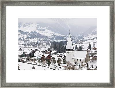 High Angle View Of A Church In A Town Framed Print