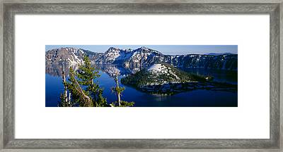 High Angle View Of A Lake, Crater Lake Framed Print by Panoramic Images
