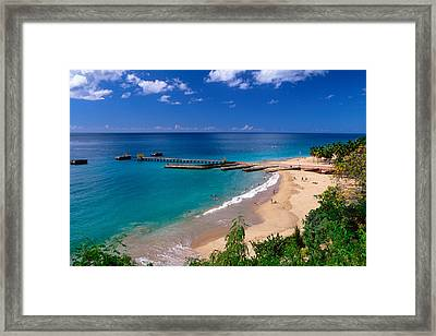 High Angle View Of A Pier On Crashboat Beach Puerto Rico. Framed Print by George Oze