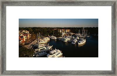 High Angle View Of Yachts Moored Framed Print by Panoramic Images