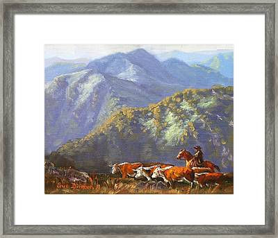 High Country Muster Framed Print by Sue Linton