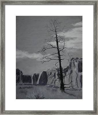 Framed Print featuring the painting High Desert Skeleton by Nancy Jolley
