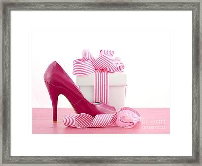 High Heel Shoe And Gift Framed Print