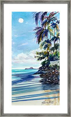 High Moon At Lanikai End Framed Print by Therese Fowler-Bailey