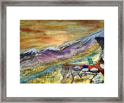 High Mountain Camping - Enhanced Coloring Framed Print by Scott D Van Osdol