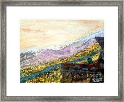 High Mountain Camping - Original Watercolor Framed Print