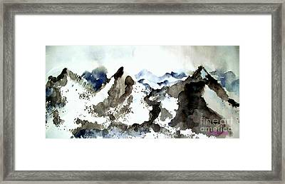 High Mountain Peaks Framed Print by Carol Grimes