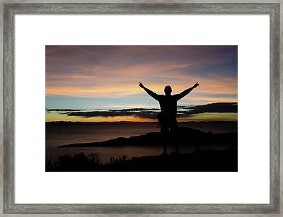 High On Top Of Isla Del Sol Bolivia Framed Print by Adonis Villanueva