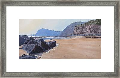 Framed Print featuring the painting High Peak Cliff Sidmouth by Lawrence Dyer