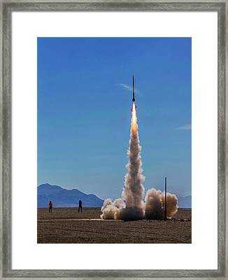 Framed Print featuring the photograph High Power Rocket Certification Flight by Peter Thoeny