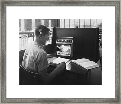 High School Closed-circuit Tv Framed Print by Underwood Archives