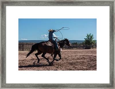High Speed Cowboy Roping Framed Print