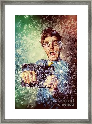High Speed Technology Geek Punching Tablet Framed Print by Jorgo Photography - Wall Art Gallery