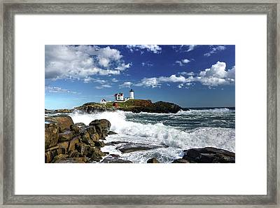 High Surf At Nubble Light Framed Print
