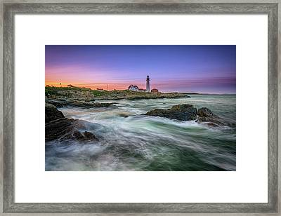 Framed Print featuring the photograph High Tide At Portland Head Lighthouse by Rick Berk