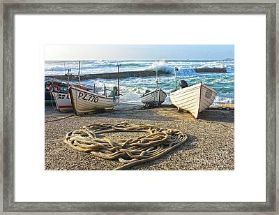 High Tide In Sennen Cove Cornwall Framed Print by Terri Waters