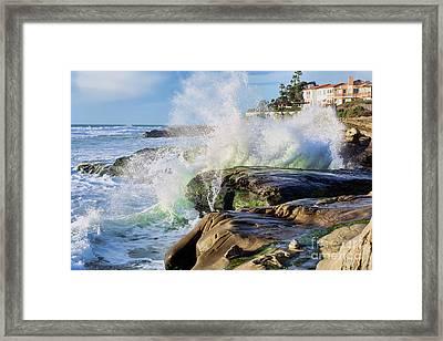 High Tide On The Rocks Framed Print by Eddie Yerkish