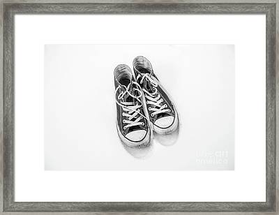 Framed Print featuring the digital art High Tops In Snow Black And White by Randy Steele