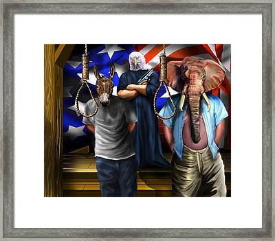 High Treason - State Of The Union-a House Divided1 Framed Print by Reggie Duffie