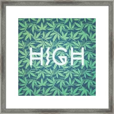 High Typo  Cannabis   Hemp  420  Marijuana   Pattern Framed Print