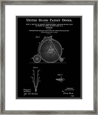 High Wheel Bicycle Patent - Black Framed Print