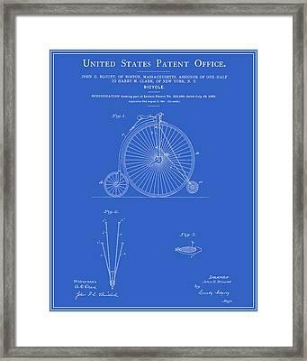 High Wheel Bicycle Patent - Blueprint Framed Print