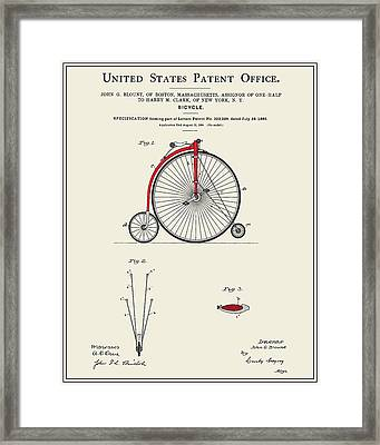 High Wheel Bicycle Patent Framed Print