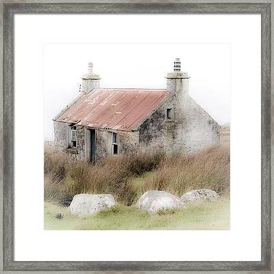 Highland Cottage In The Mist Framed Print
