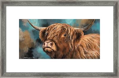 Highland Heifer Framed Print by Dina Perejogina