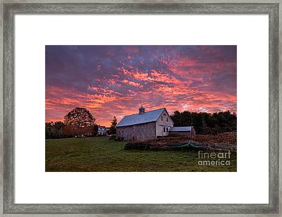 Highland Road Barn At Sunrise Framed Print by Benjamin Williamson