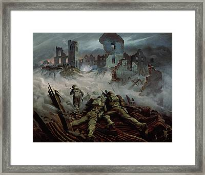 Highlanders Advancing To Caen Framed Print by Orville Norman Fisher