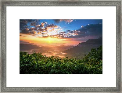 Highlands Sunrise - Whitesides Mountain In Highlands Nc Framed Print