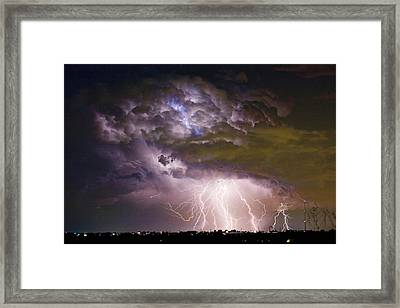 Highway 52 Storm Cell - Two And Half Minutes Lightning Strikes Framed Print